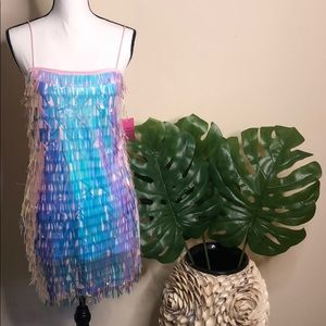 PARTY COLLECTION Sequin tassel mini dress.